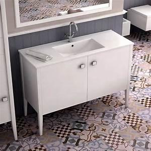 Porte Meuble Salle De Bain : meuble salle de bain blanc 120 cm 2 portes vasque c ramique touquet ~ Teatrodelosmanantiales.com Idées de Décoration
