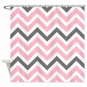 Light pink and gray chevrons shower curtain by for Light pink and gray curtains