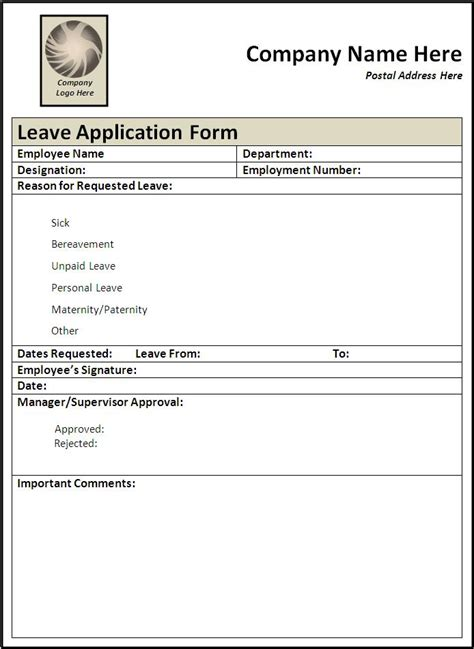 leave application form template  printable word