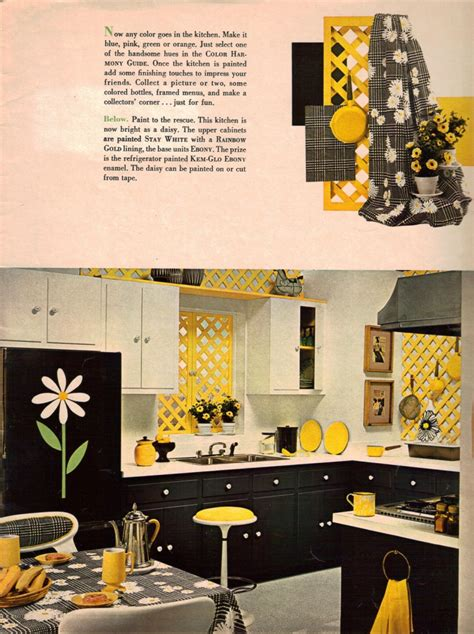 yellow and black kitchen accessories 1960s decorating style 16 pages of painting ideas from 1980