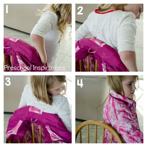 3 simple ways for children to put coats on preschool 235 | Putting a coat on with a chair