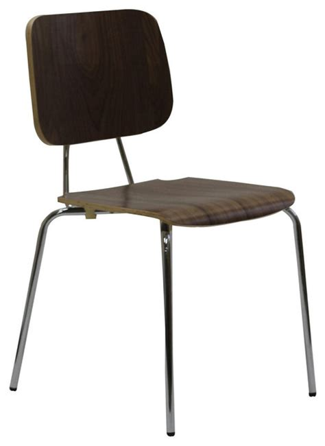 plywood 4 metal leg dining chair walnut contemporary