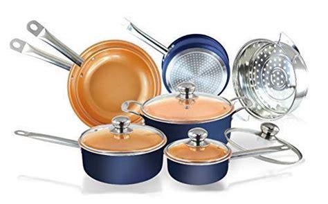 pc navy blue copper ceramic coated pots  pans