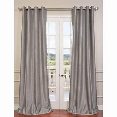 Curtain Silk Silver Grommet Blackout Faux Dupioni