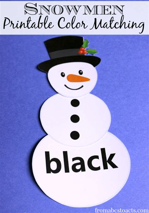 printable color matching snowmen from abcs to acts 476 | Snowmen Printable Color Matching for Preschoolers