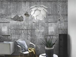 Tapete In Betonoptik : papier peint imitation bois pierre et b ton qui invite la nature ~ Markanthonyermac.com Haus und Dekorationen