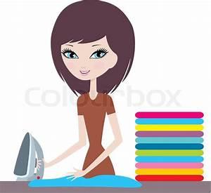 Young Cartoon Woman Irons Clothes