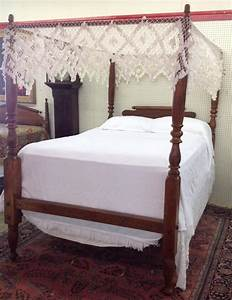 Early american maple rope bed with full tester for American home furniture beds