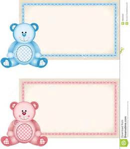 baby boy shower themes baby teddy pink and blue tag label stock illustration