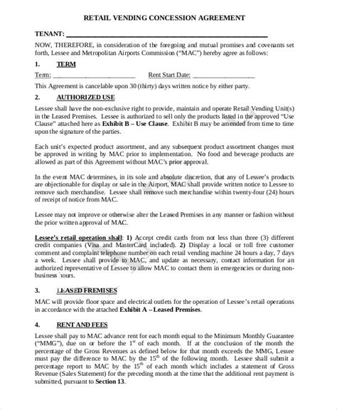 concession agreement templates   word  format