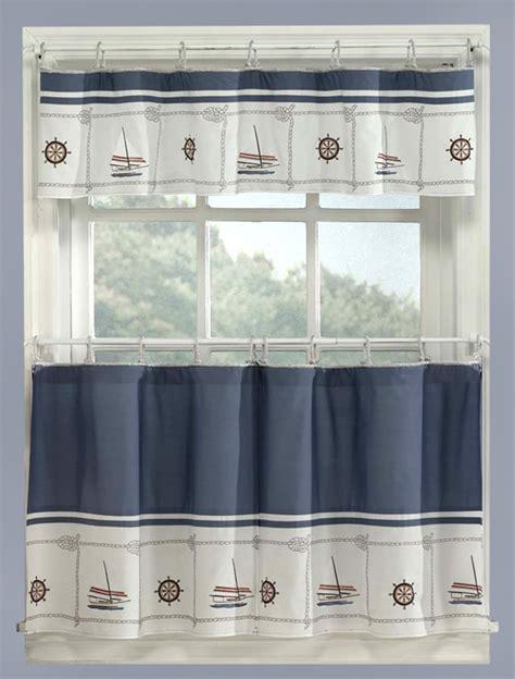 Blue Nautical Curtains Valance   Tiers Set Cape Cod
