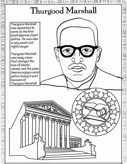 Coloring History Month Pages Rosa Parks Thurgood