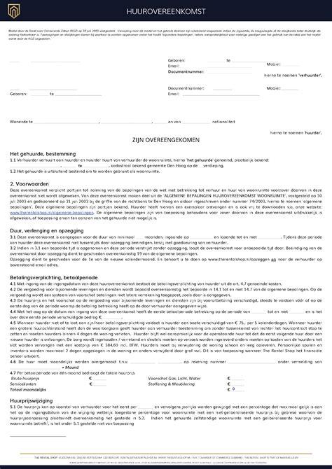 Woning Te Huur Voor 1 Jaar voorbeeld documenten en contracten voor de verhuur