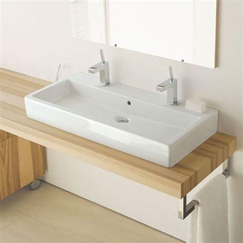 bureau en bois moderne vero vasque à poser 100 cm avec 2 trous de robinets