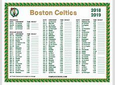 Printable 20182019 Boston Celtics Schedule