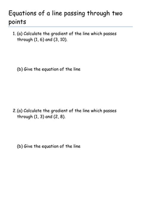 Equations For Straight Lines (two Points And Perpendicular