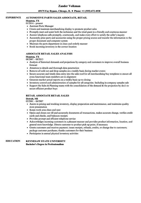sales associate retail resume sles velvet