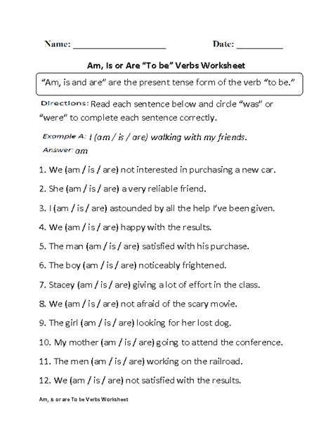 all kinds of grammar worksheets am is or are to