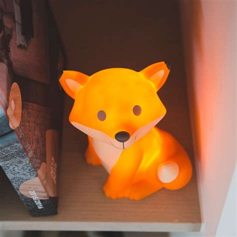 chambre style veilleuse renard orange avec led et piles
