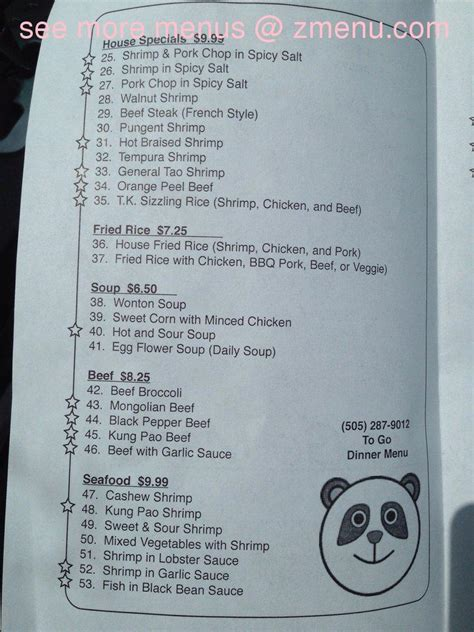 menu  tasty kitchen chinese restaurant restaurant