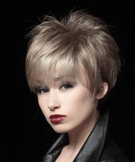 formal short straight layered pixie hairstyle light ash
