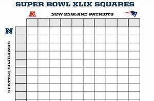 something like quotsquaresquot during superbowl parties but for With super bowl betting pool template