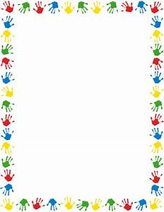 A page border featuring handprints in different colors ...