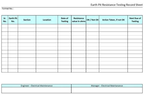 earth pit resistance testing record sheet