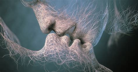 Kiss Artwork Faces Hairs Wires Love Kissing Wallpapers Hd