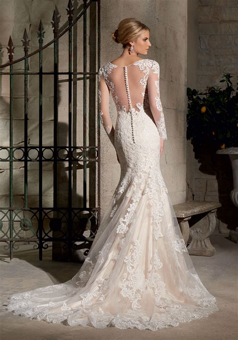 Chantilly Lace With Wide Hemline Wedding Dress Style