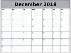 December 2018 Calendar Fillable Calendar Template Letter