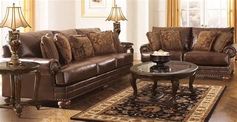 livingroom funiture buy ashley furniture 9920038 9920035 set chaling durablend antique living room set