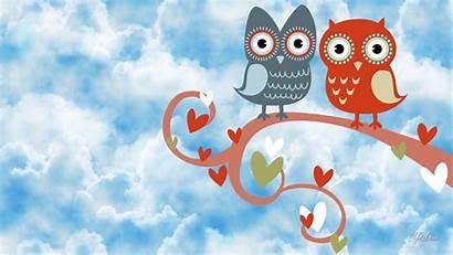 Owl Desktop Wallpapers Valentine Backgrounds Background Cartoon