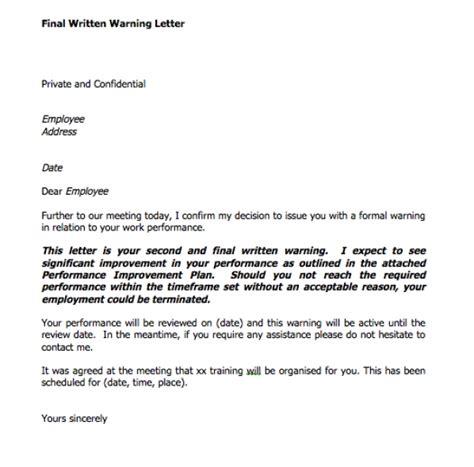 Written Warning Template Formal Written Warning Letter Letters Free Sle Letters