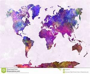 Carte Du Monde Design : la carte du monde dans l 39 aquarelle pourpre chauffent illustration stock image 57240147 ~ Teatrodelosmanantiales.com Idées de Décoration