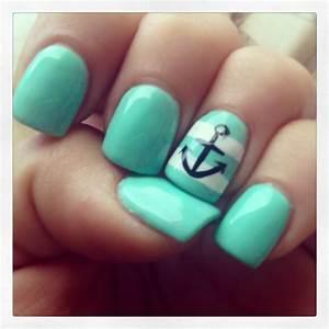 Nautical Nails! Mint color gel nail polish -- LOVE LOVE ...