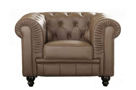 fauteuil chesterfield en simili cuir taupe fauteuil