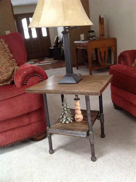 oak slab  table  black iron pipe legs tables