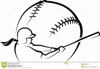 Softball Batter Hitter Illustration Vector