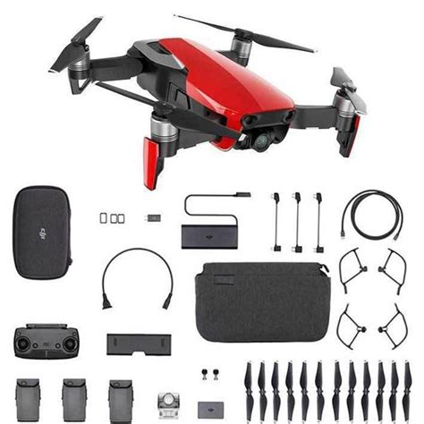 dji mavic air fly  combo flame red cppt dynnex drones