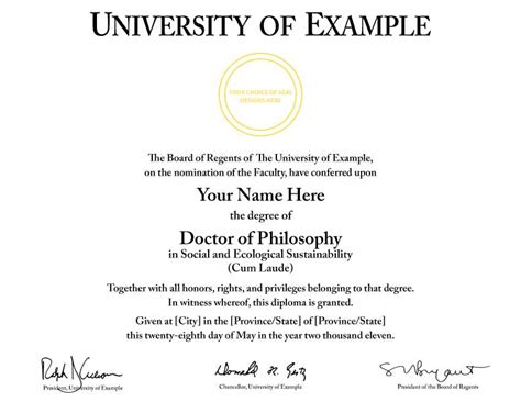 Phd Diploma Template by Buy A College Diploma