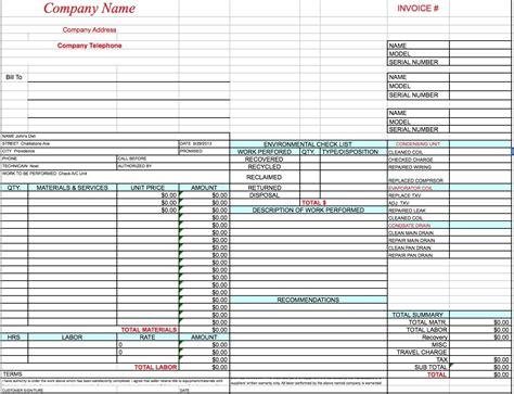 hvac invoice template excel  word  hvac invoice