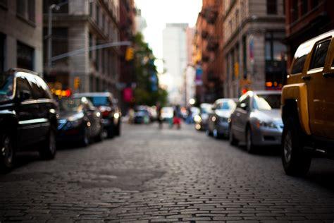 city street car depth  field bokeh wallpapers hd