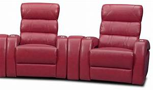 Bravo 7 piece power reclining home theater sectional red for Red sectional sofa value city