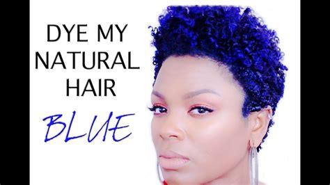 Natural Hair How I Dye Blue Hair Youtube