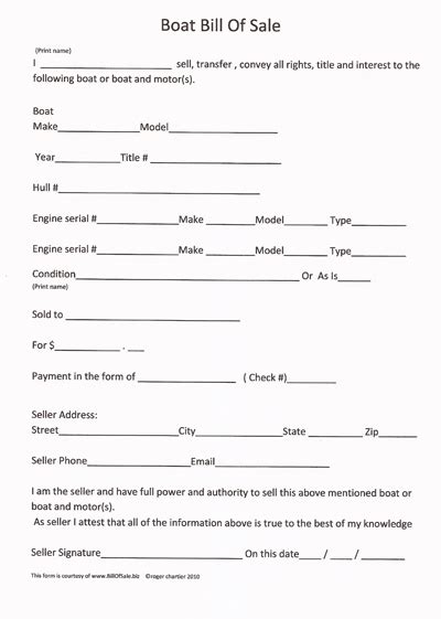 printable sample boat bill  sale form bill  sale