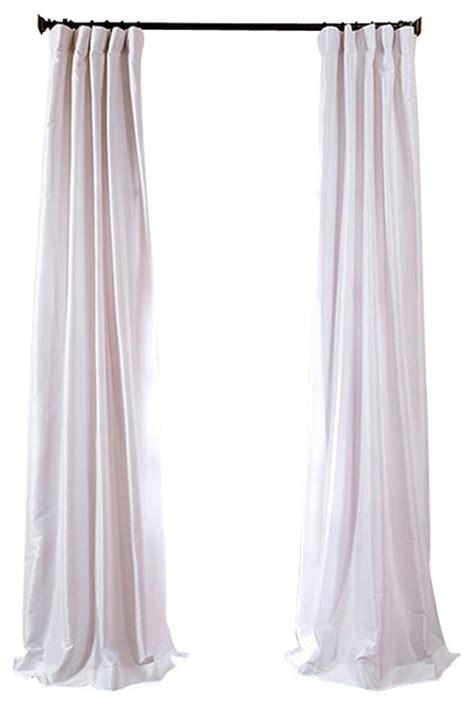 white faux silk taffeta curtain single panel traditional