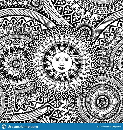 Seamless Pattern With Zentangle Patterns And The Sun Stock ...