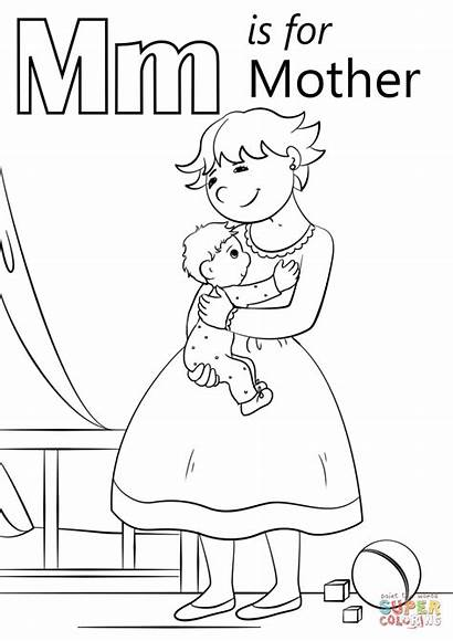 Coloring Letter Mother Pages Printable Preschool Alphabet