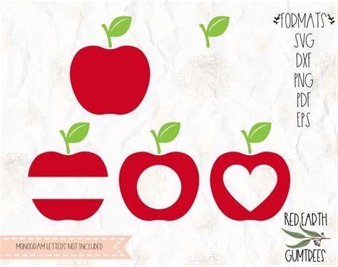 red apple monograms  svg eps  dxf png formats apples red monogram frames split